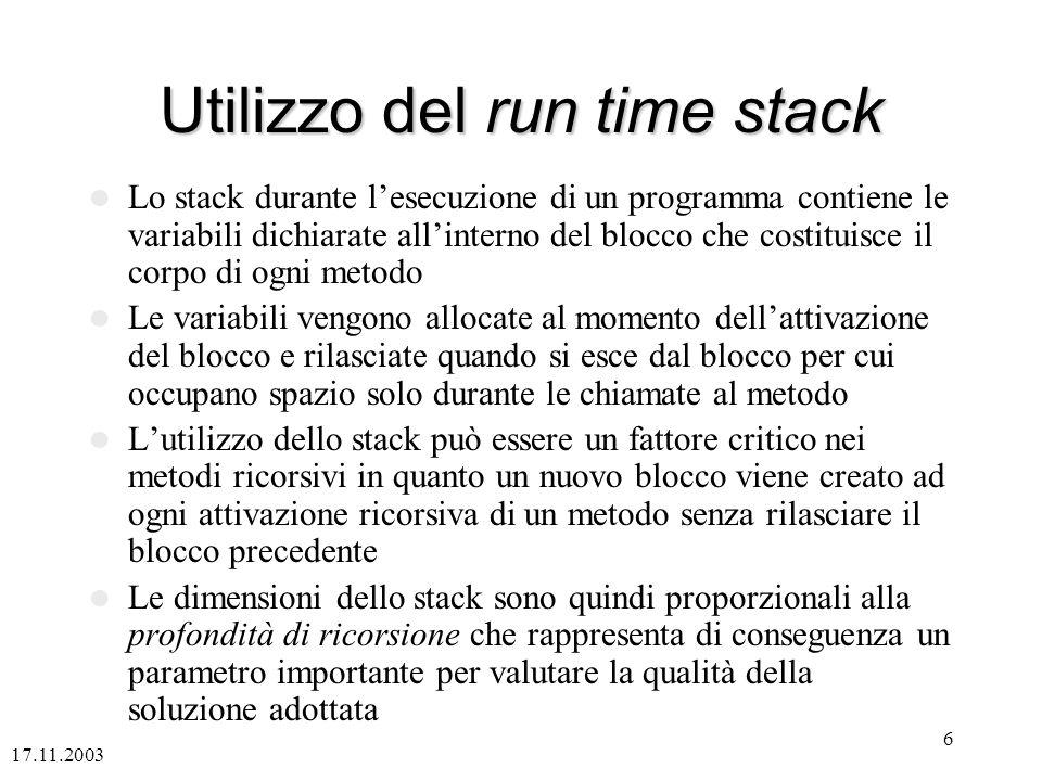 17.11.2003 6 Utilizzo del run time stack Lo stack durante lesecuzione di un programma contiene le variabili dichiarate allinterno del blocco che costi