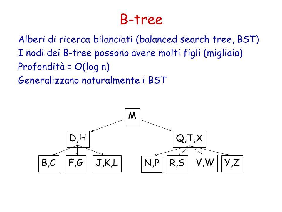 B-tree Alberi di ricerca bilanciati (balanced search tree, BST) I nodi dei B-tree possono avere molti figli (migliaia) Profondità = O(log n) Generaliz