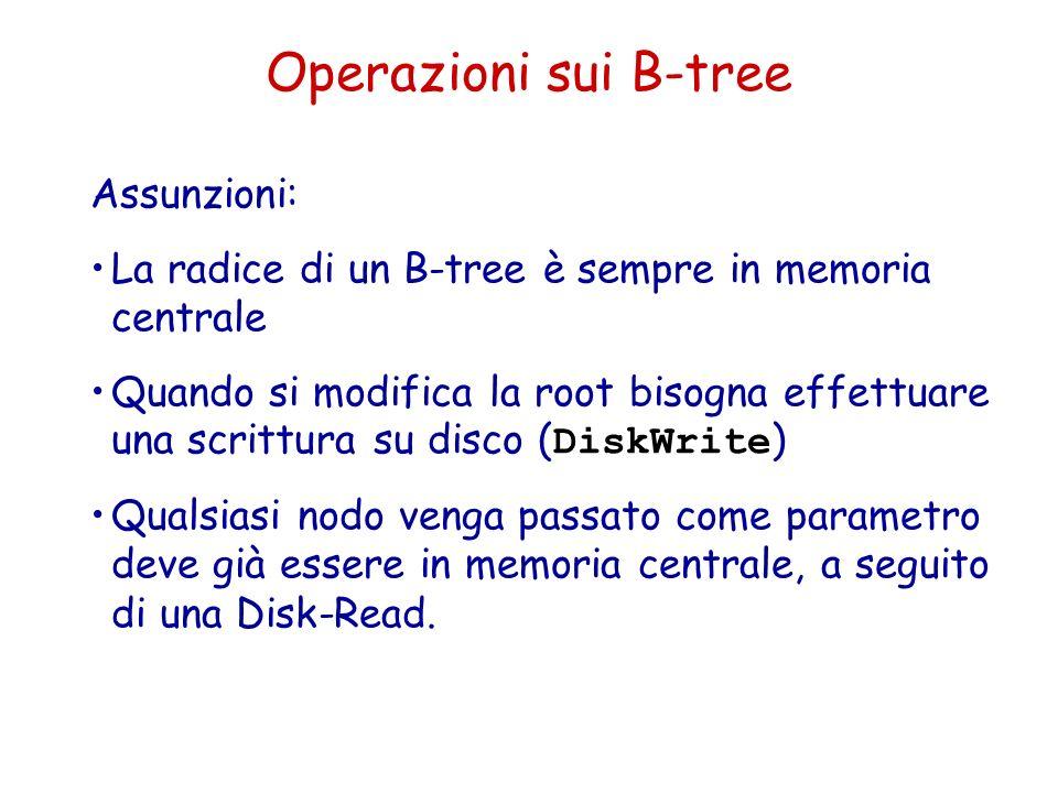Operazioni sui B-tree Assunzioni: La radice di un B-tree è sempre in memoria centrale Quando si modifica la root bisogna effettuare una scrittura su d