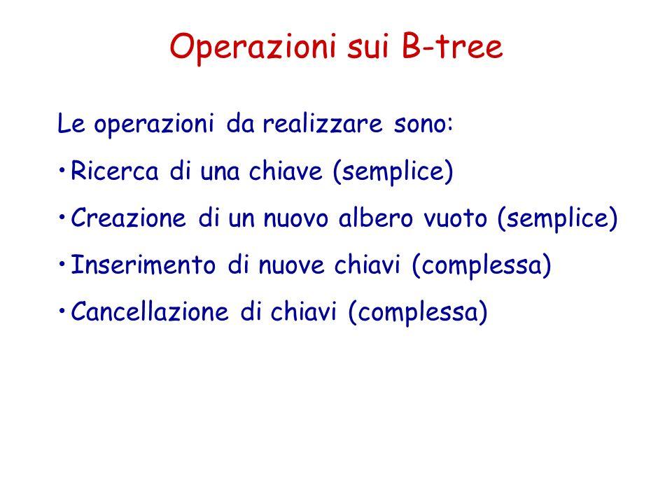 Operazioni sui B-tree Le operazioni da realizzare sono: Ricerca di una chiave (semplice) Creazione di un nuovo albero vuoto (semplice) Inserimento di