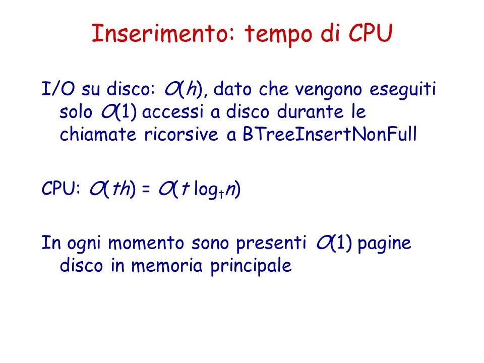 Inserimento: tempo di CPU I/O su disco: O(h), dato che vengono eseguiti solo O(1) accessi a disco durante le chiamate ricorsive a BTreeInsertNonFull C