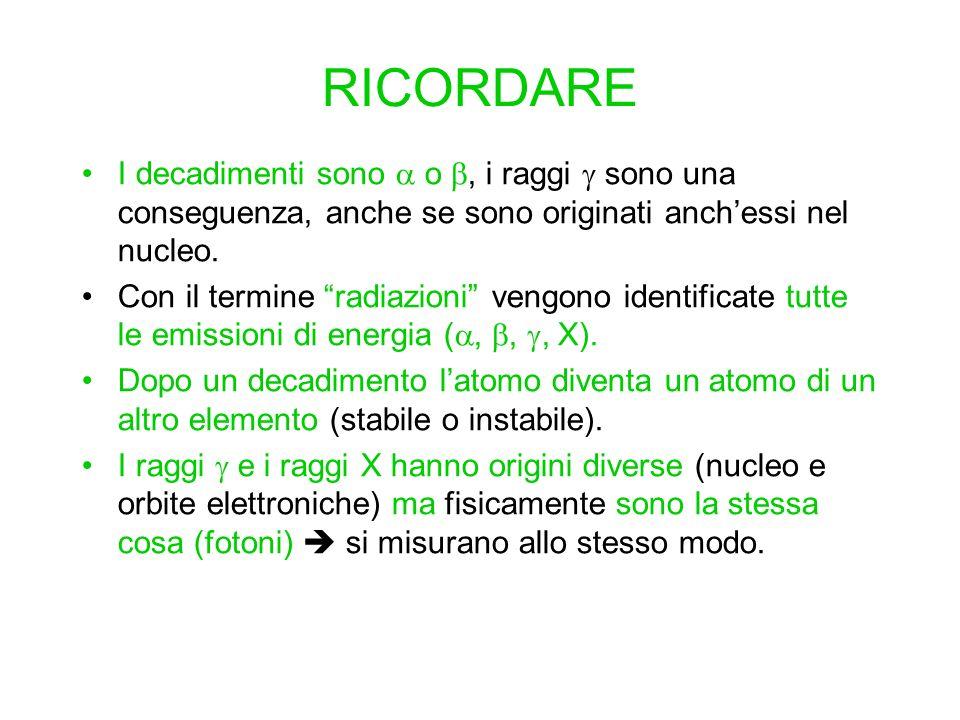 RICORDARE I decadimenti sono o, i raggi sono una conseguenza, anche se sono originati anchessi nel nucleo. Con il termine radiazioni vengono identific