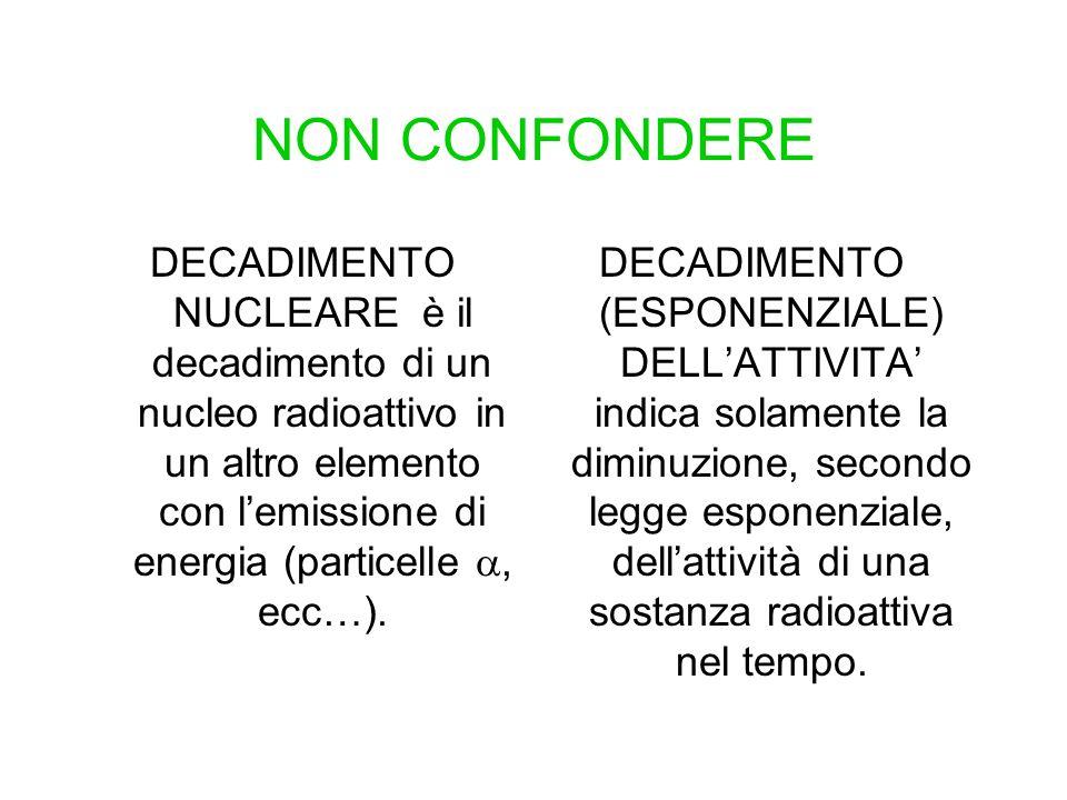 NON CONFONDERE DECADIMENTO NUCLEARE è il decadimento di un nucleo radioattivo in un altro elemento con lemissione di energia (particelle, ecc…). DECAD