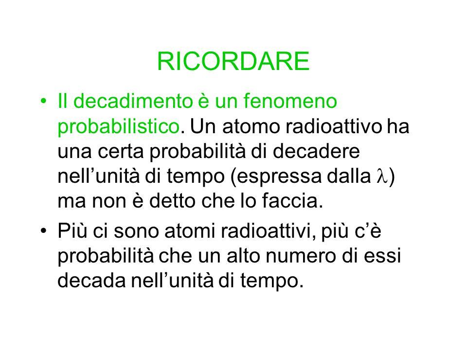 RICORDARE Il decadimento è un fenomeno probabilistico. Un atomo radioattivo ha una certa probabilità di decadere nellunità di tempo (espressa dalla )