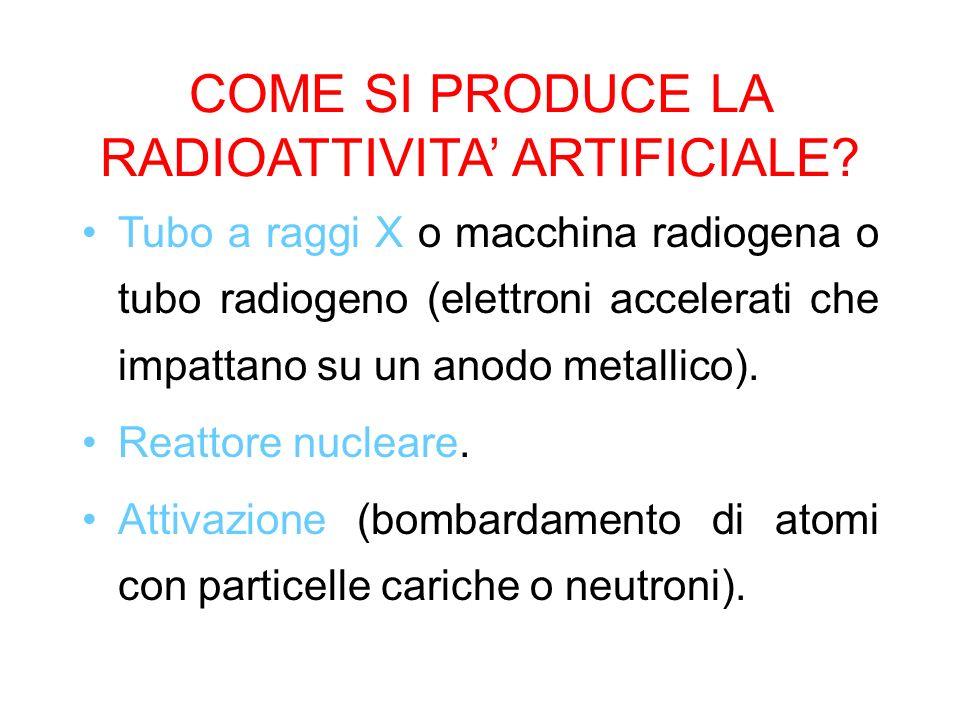 COME SI PRODUCE LA RADIOATTIVITA ARTIFICIALE? Tubo a raggi X o macchina radiogena o tubo radiogeno (elettroni accelerati che impattano su un anodo met
