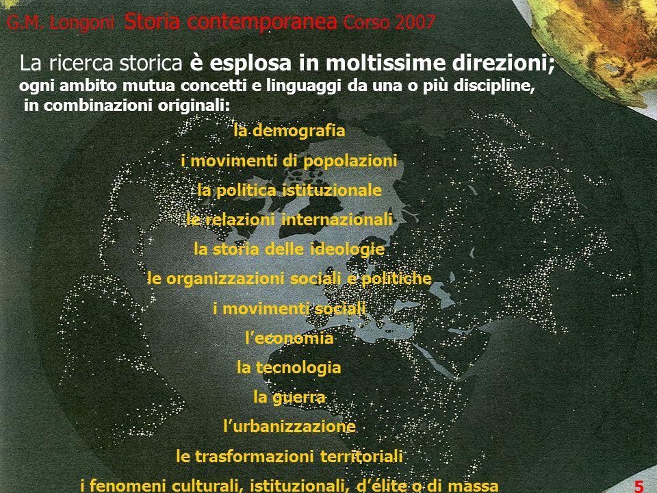 5 G.M. Longoni Storia contemporanea Corso 2007 4 La ricerca storica è esplosa in moltissime direzioni; ogni ambito mutua concetti e linguaggi da una o