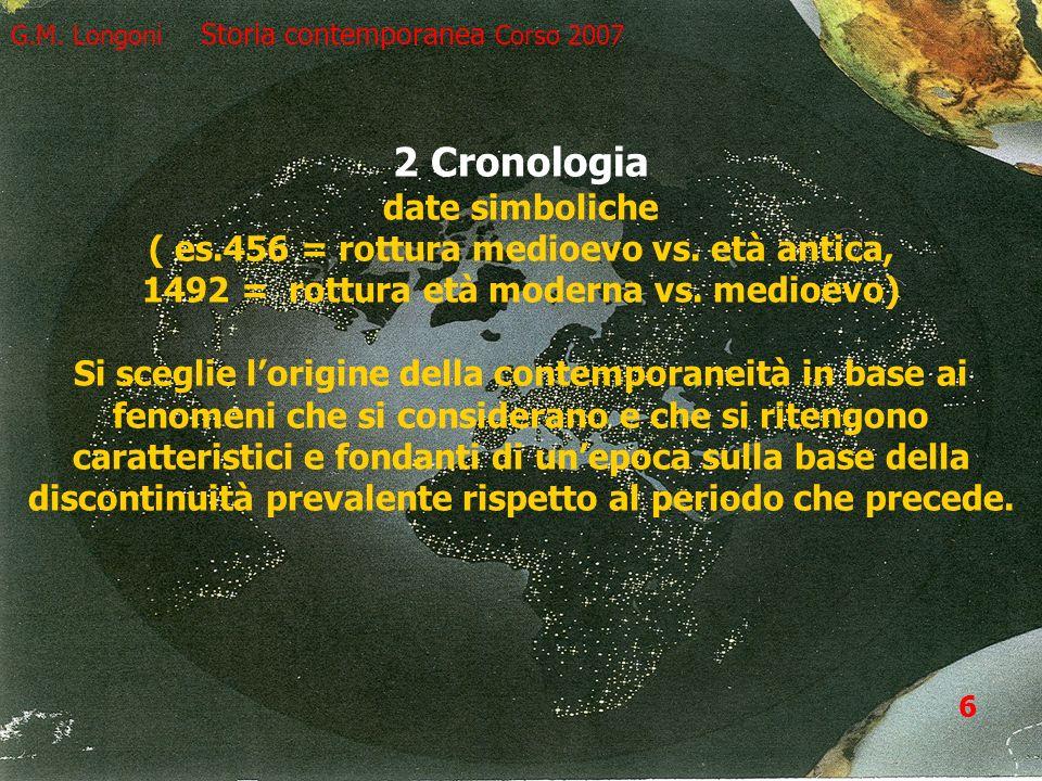 6 G.M. Longoni Storia contemporanea Corso 2007 2 Cronologia date simboliche ( es.456 = rottura medioevo vs. età antica, 1492 = rottura età moderna vs.