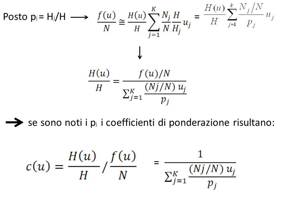 Posto p j = H j /H = se sono noti i p j i coefficienti di ponderazione risultano: =