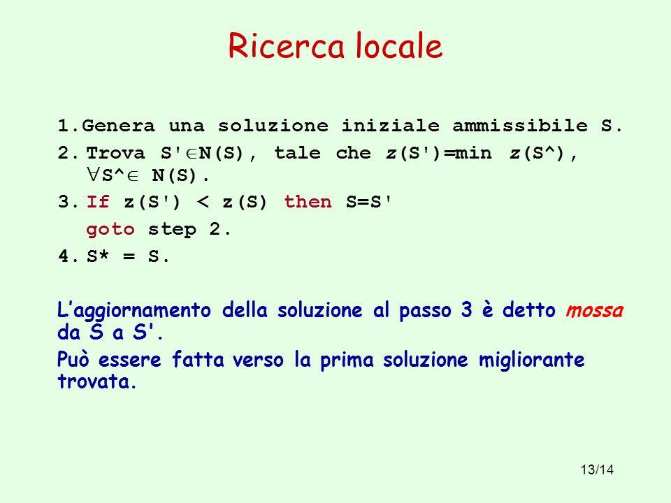 13/14 Ricerca locale 1.Genera una soluzione iniziale ammissibile S.