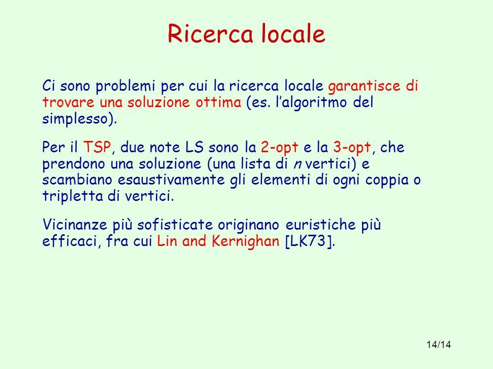 14/14 Ricerca locale Ci sono problemi per cui la ricerca locale garantisce di trovare una soluzione ottima (es.
