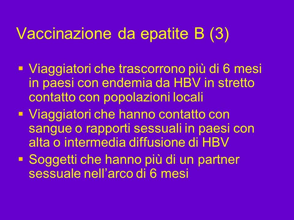 Vaccinazione da epatite B (3) Viaggiatori che trascorrono più di 6 mesi in paesi con endemia da HBV in stretto contatto con popolazioni locali Viaggia