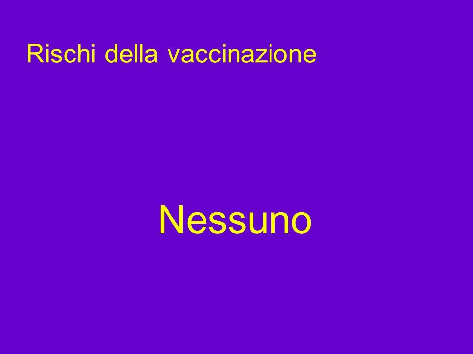 Rischi della vaccinazione Nessuno