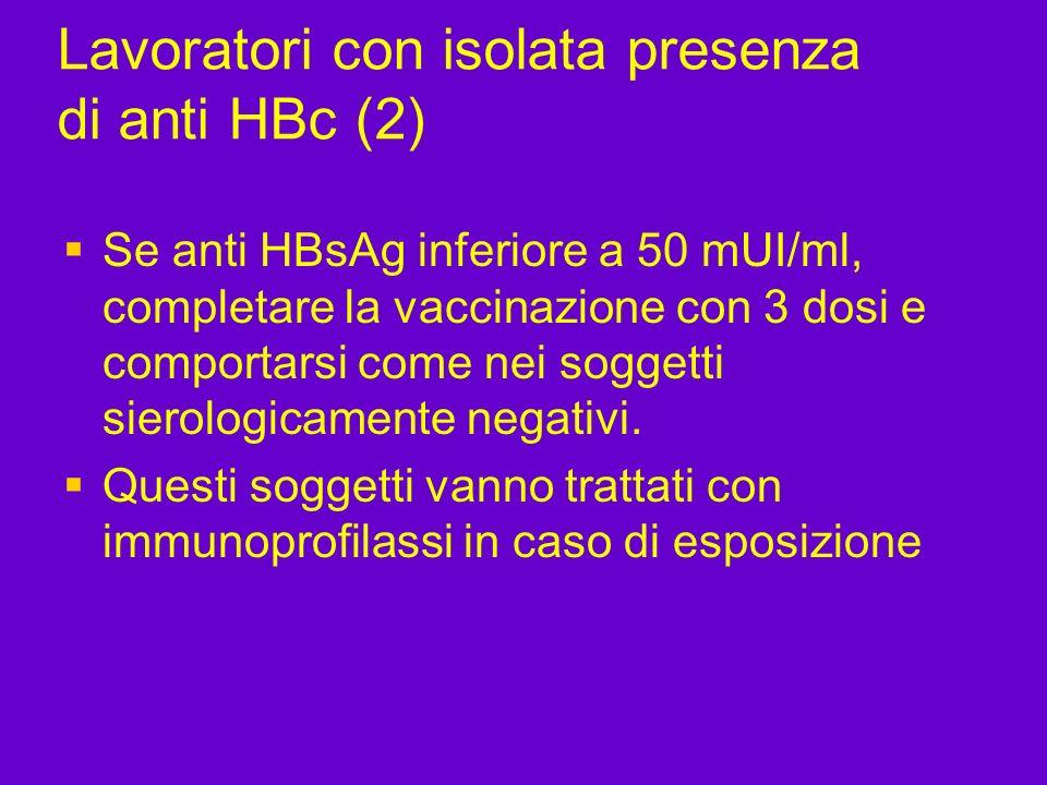 Lavoratori con isolata presenza di anti HBc (2) Se anti HBsAg inferiore a 50 mUI/ml, completare la vaccinazione con 3 dosi e comportarsi come nei sogg