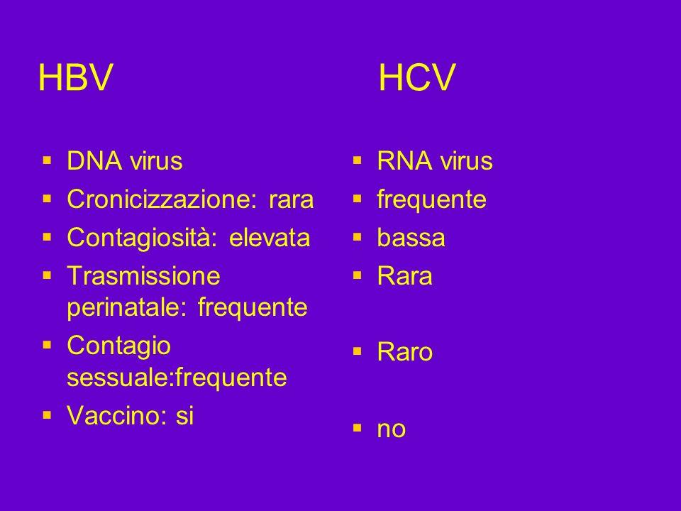 HBV HCV DNA virus Cronicizzazione: rara Contagiosità: elevata Trasmissione perinatale: frequente Contagio sessuale:frequente Vaccino: si RNA virus fre