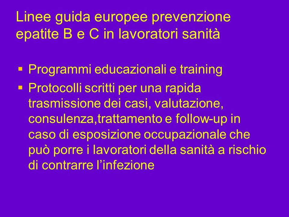 Linee guida europee prevenzione epatite B e C in lavoratori sanità Programmi educazionali e training Protocolli scritti per una rapida trasmissione de