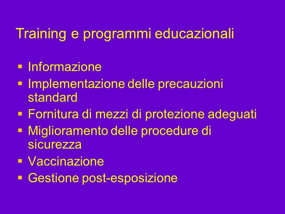 Training e programmi educazionali Informazione Implementazione delle precauzioni standard Fornitura di mezzi di protezione adeguati Miglioramento dell