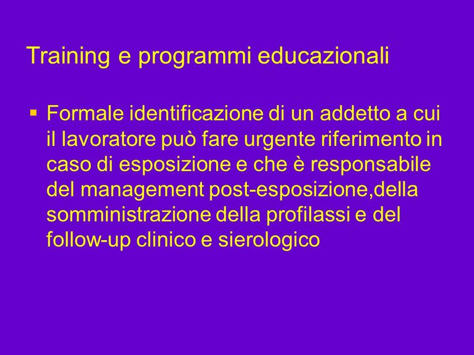 Training e programmi educazionali Formale identificazione di un addetto a cui il lavoratore può fare urgente riferimento in caso di esposizione e che