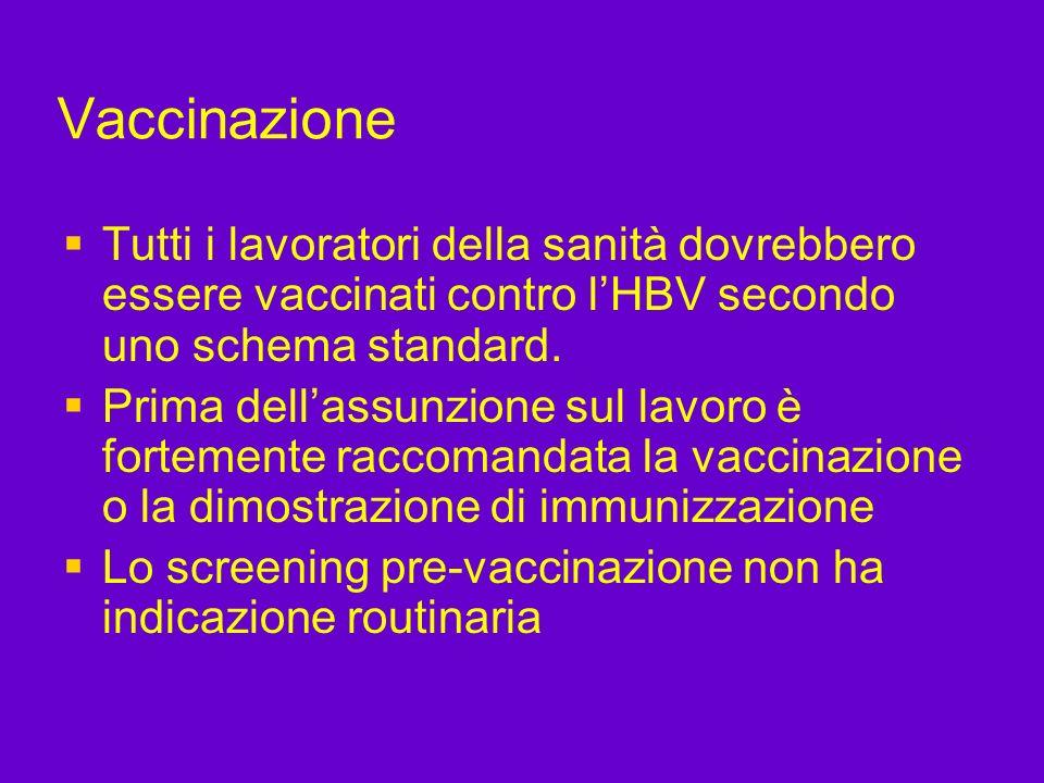 Vaccinazione Tutti i lavoratori della sanità dovrebbero essere vaccinati contro lHBV secondo uno schema standard. Prima dellassunzione sul lavoro è fo