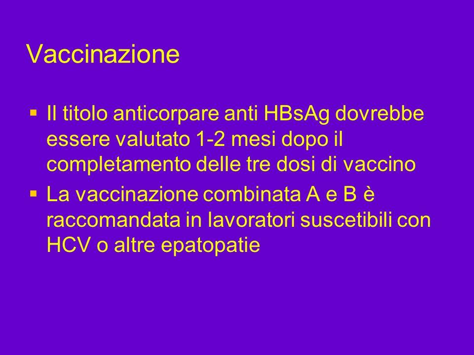 Vaccinazione Il titolo anticorpare anti HBsAg dovrebbe essere valutato 1-2 mesi dopo il completamento delle tre dosi di vaccino La vaccinazione combin