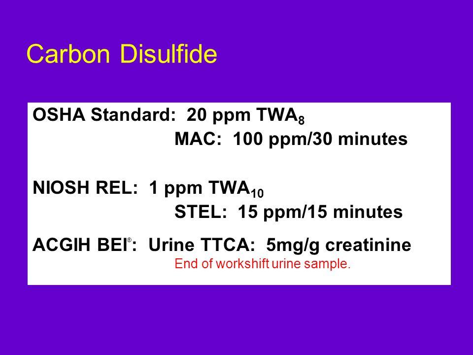 Carbon Disulfide OSHA Standard: 20 ppm TWA 8 MAC: 100 ppm/30 minutes NIOSH REL: 1 ppm TWA 10 STEL: 15 ppm/15 minutes ACGIH BEI ® : Urine TTCA: 5mg/g c