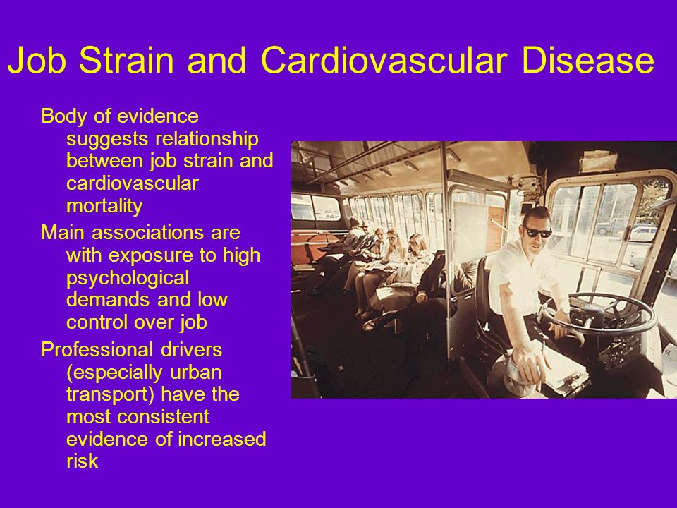 Job Strain and Cardiovascular Disease Body of evidence suggests relationship between job strain and cardiovascular mortality Main associations are wit