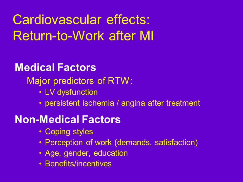 Cardiovascular effects: Return-to-Work after MI Medical Factors Major predictors of RTW: LV dysfunction persistent ischemia / angina after treatment N