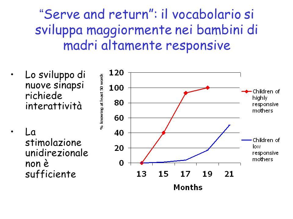 Serve and return: il vocabolario si sviluppa maggiormente nei bambini di madri altamente responsive Lo sviluppo di nuove sinapsi richiede interattività La stimolazione unidirezionale non è sufficiente