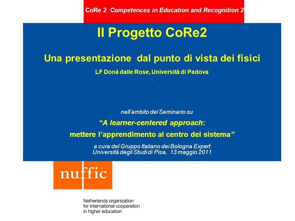 CoRe 2 Competences in Education and Recognition 2 Il Progetto CoRe2 Una presentazione dal punto di vista dei fisici LF Donà dalle Rose, Università di