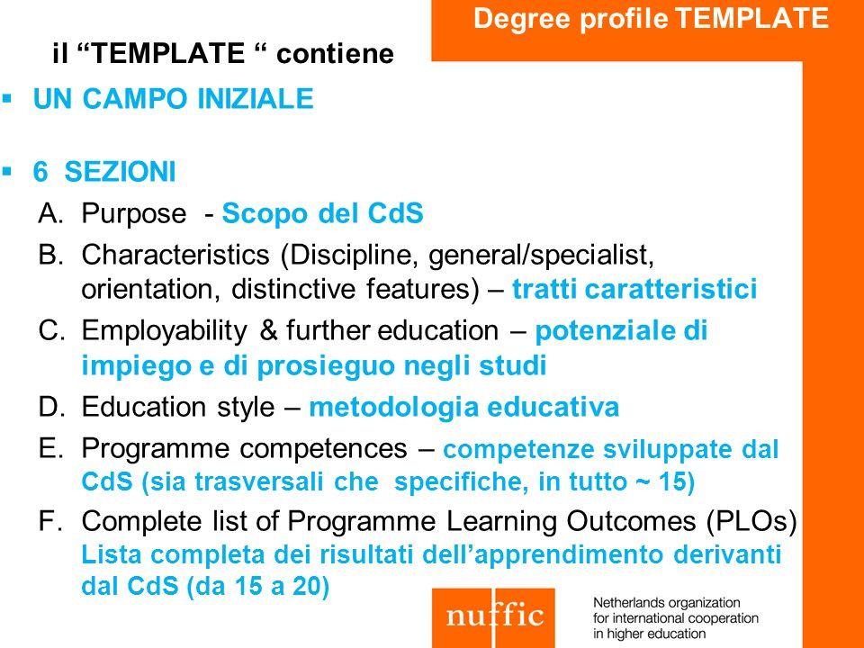 Degree profile TEMPLATE il TEMPLATE contiene UN CAMPO INIZIALE 6 SEZIONI A.Purpose - Scopo del CdS B.Characteristics (Discipline, general/specialist,