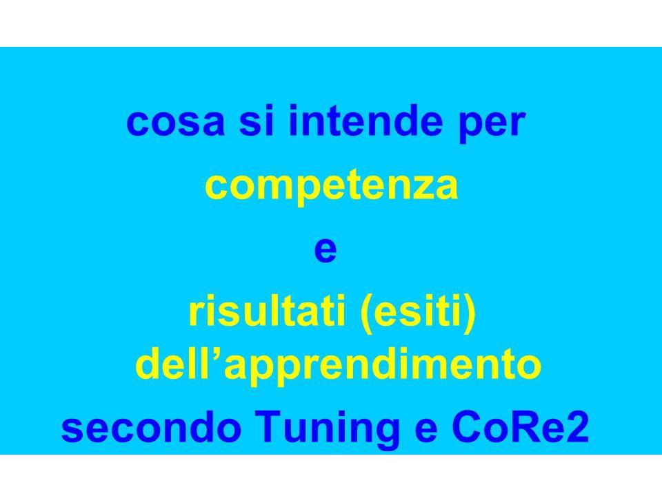 cosa si intende per competenza e risultati (esiti) dellapprendimento secondo Tuning e CoRe2