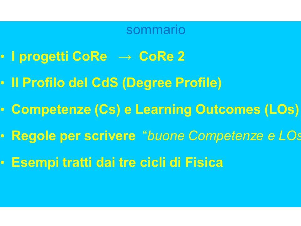 sommario I progetti CoRe CoRe 2 Il Profilo del CdS (Degree Profile) Competenze (Cs) e Learning Outcomes (LOs) Regole per scrivere buone Competenze e L