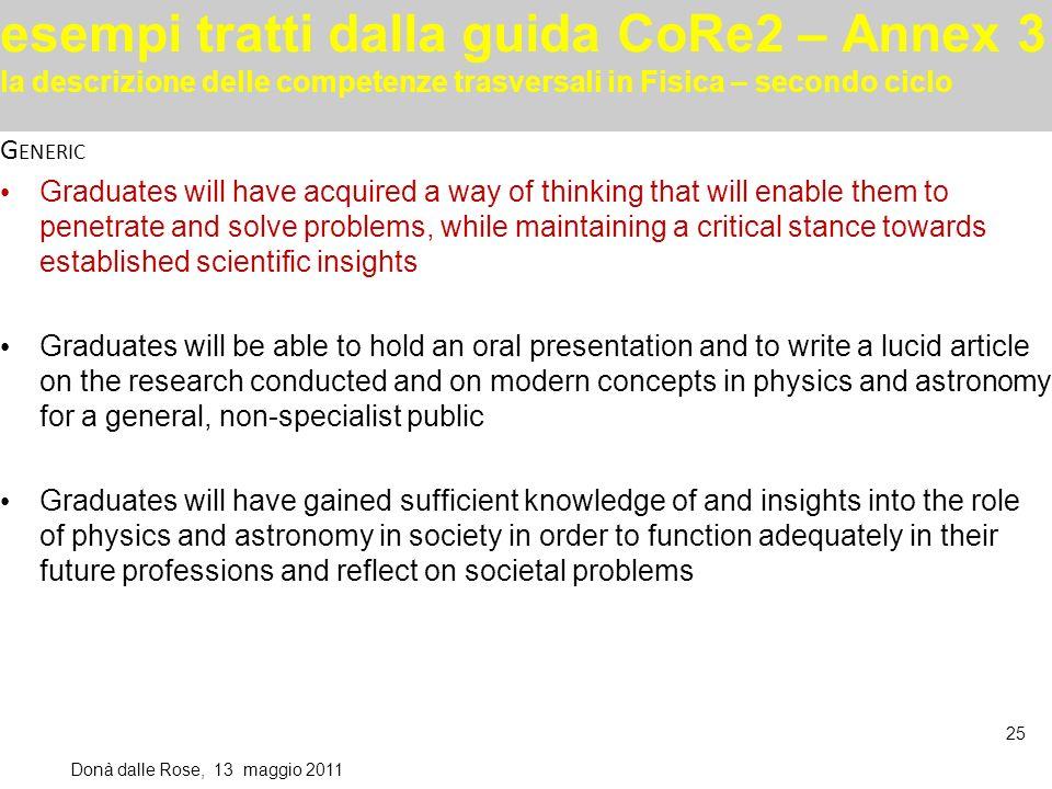 esempi tratti dalla guida CoRe2 – Annex 3 la descrizione delle competenze trasversali in Fisica – secondo ciclo Donà dalle Rose, 13 maggio 2011 25 G E