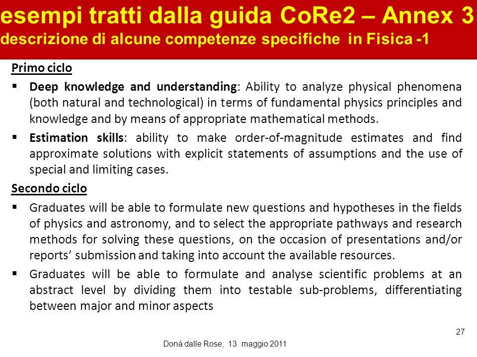 esempi tratti dalla guida CoRe2 – Annex 3 descrizione di alcune competenze specifiche in Fisica -1 Donà dalle Rose, 13 maggio 2011 27 Primo ciclo Deep