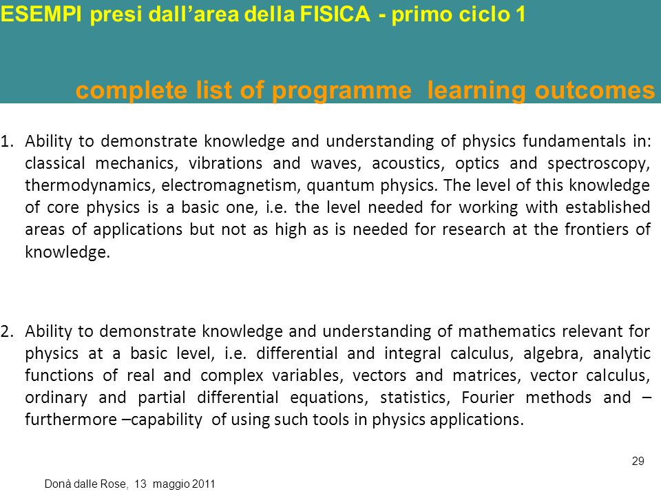 ALTRI ESEMPI presi dallarea della FISICA - primo ciclo 1 C OMPLETE LIST OF PROGRAMME LEARNING OUTCOMES VERB IN BLACK ; TYPE IN BLUE ; SUBJECT IN RED ; STANDARD I N G REEN ; CONTEXT IN VIOLET 1.Ability to demonstrate knowledge and understanding of physics fundamentals in: classical mechanics, vibrations and waves, acoustics, optics and spectroscopy, thermodynamics, electromagnetism, quantum physics.