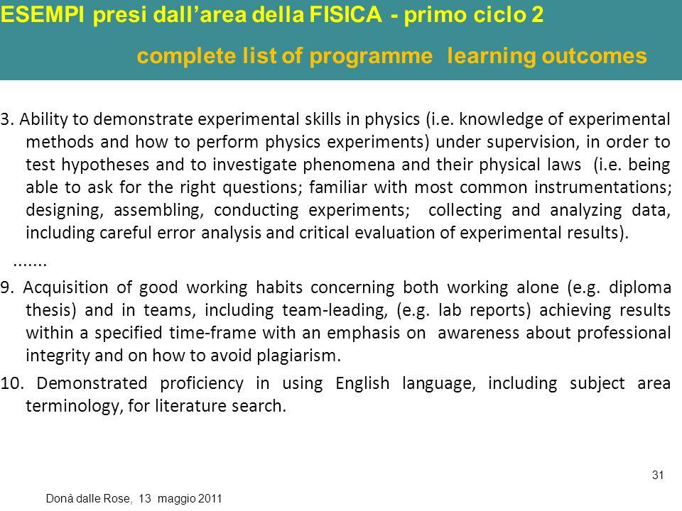ESEMPI presi dallarea della FISICA - primo ciclo 2 complete list of programme learning outcomes 3. Ability to demonstrate experimental skills in physi