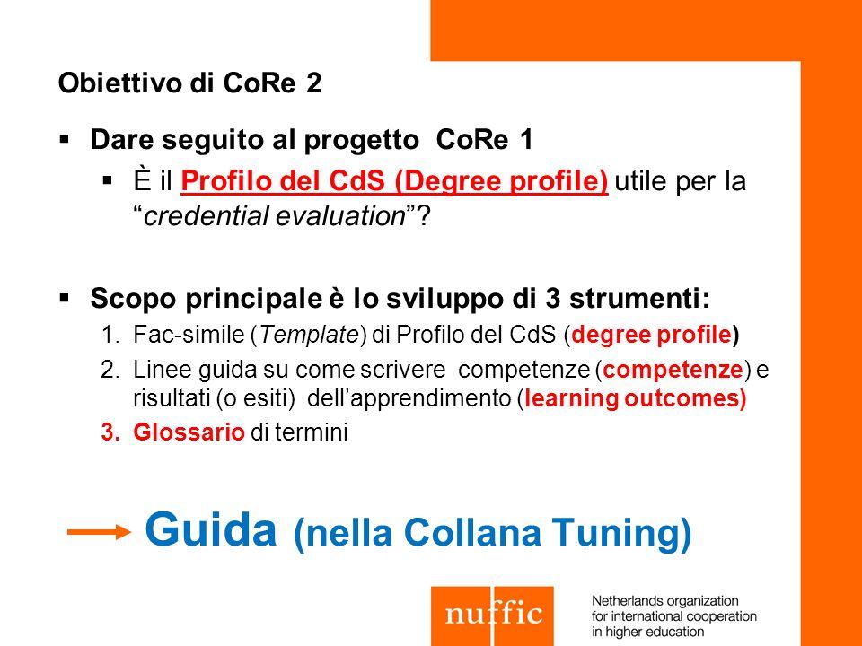 Obiettivo di CoRe 2 Dare seguito al progetto CoRe 1 È il Profilo del CdS (Degree profile) utile per lacredential evaluation? Scopo principale è lo svi