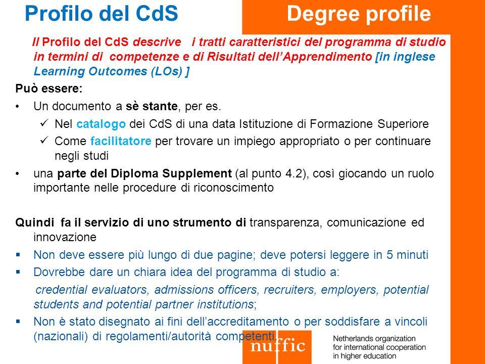 Profilo del CdS Degree profile Il Profilo del CdS descrive i tratti caratteristici del programma di studio in termini di competenze e di Risultati del