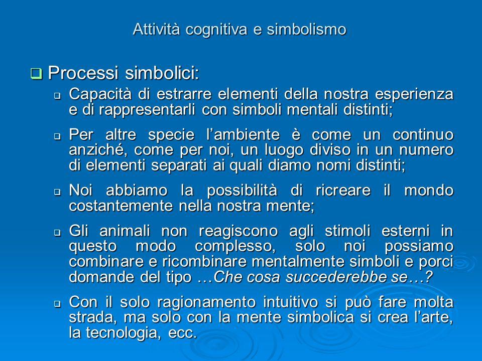 Attività cognitiva e simbolismo Processi simbolici: Processi simbolici: Capacità di estrarre elementi della nostra esperienza e di rappresentarli con