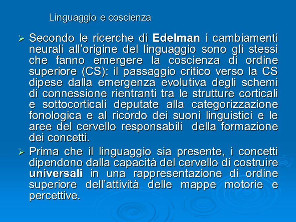 Linguaggio e coscienza Secondo le ricerche di Edelman i cambiamenti neurali allorigine del linguaggio sono gli stessi che fanno emergere la coscienza