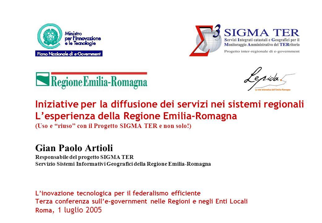 Iniziative per la diffusione dei servizi nei sistemi regionali Lesperienza della Regione Emilia-Romagna (Uso e riuso con il Progetto SIGMA TER e non s