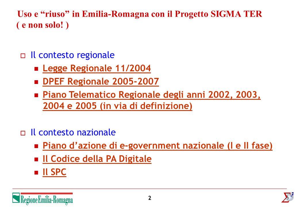 2 Uso e riuso in Emilia-Romagna con il Progetto SIGMA TER ( e non solo! ) Il contesto regionale Legge Regionale 11/2004 DPEF Regionale 2005-2007 Piano