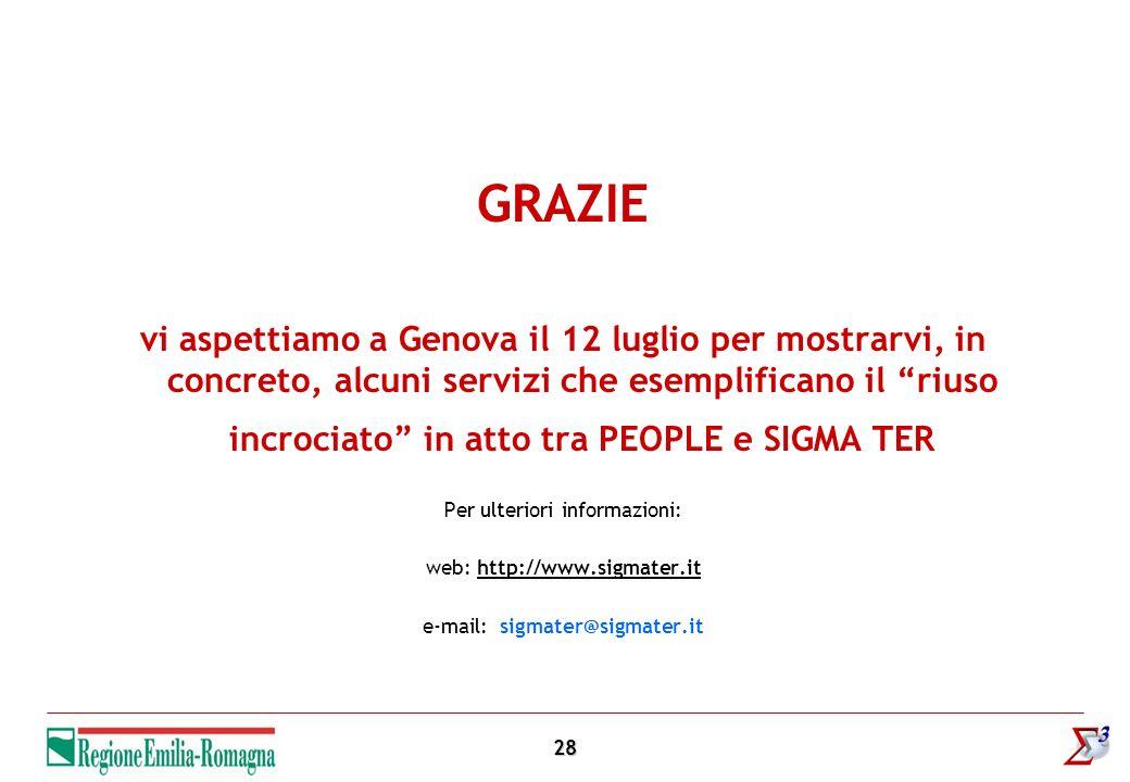 28 GRAZIE vi aspettiamo a Genova il 12 luglio per mostrarvi, in concreto, alcuni servizi che esemplificano il riuso incrociato in atto tra PEOPLE e SIGMA TER Per ulteriori informazioni: web: http://www.sigmater.ithttp://www.sigmater.it e-mail: sigmater@sigmater.it