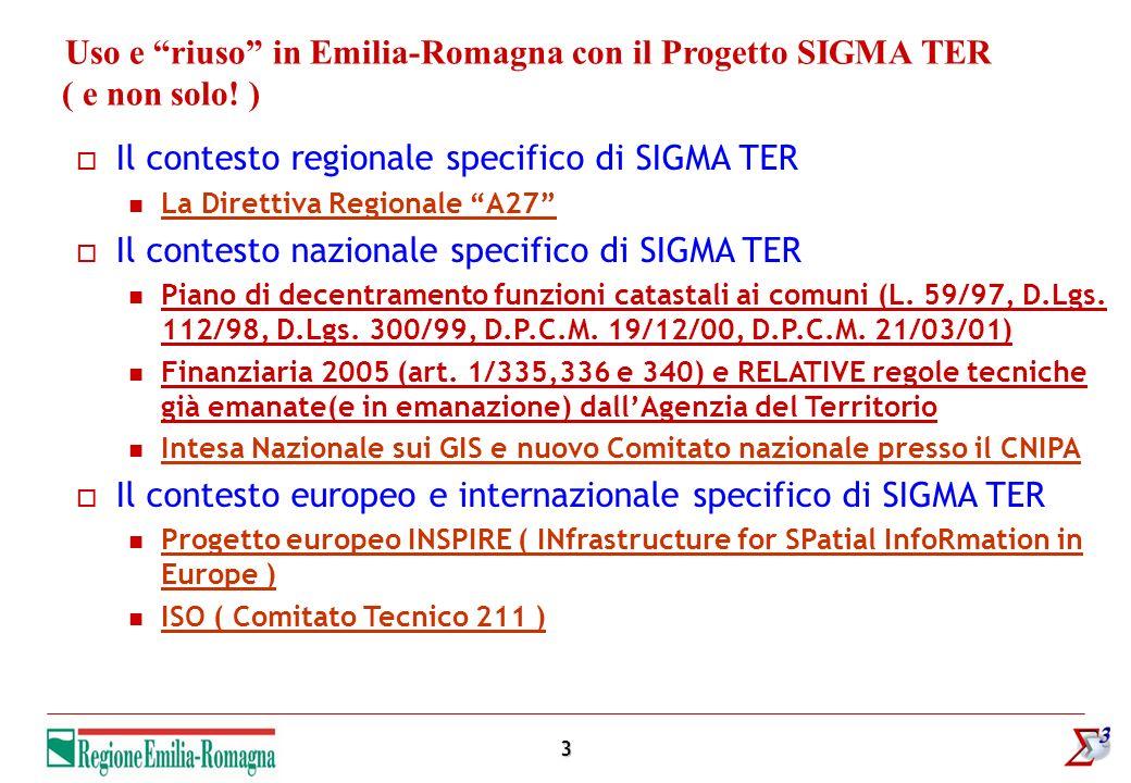 3 Uso e riuso in Emilia-Romagna con il Progetto SIGMA TER ( e non solo! ) Il contesto regionale specifico di SIGMA TER La Direttiva Regionale A27 Il c