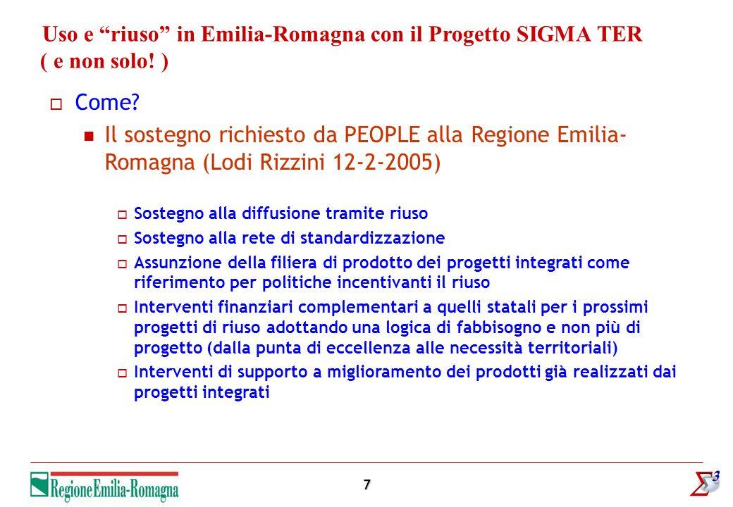 7 Uso e riuso in Emilia-Romagna con il Progetto SIGMA TER ( e non solo! ) Come? Il sostegno richiesto da PEOPLE alla Regione Emilia- Romagna (Lodi Riz