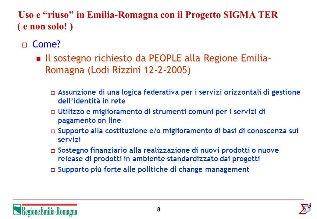8 Uso e riuso in Emilia-Romagna con il Progetto SIGMA TER ( e non solo! ) Come? Il sostegno richiesto da PEOPLE alla Regione Emilia- Romagna (Lodi Riz
