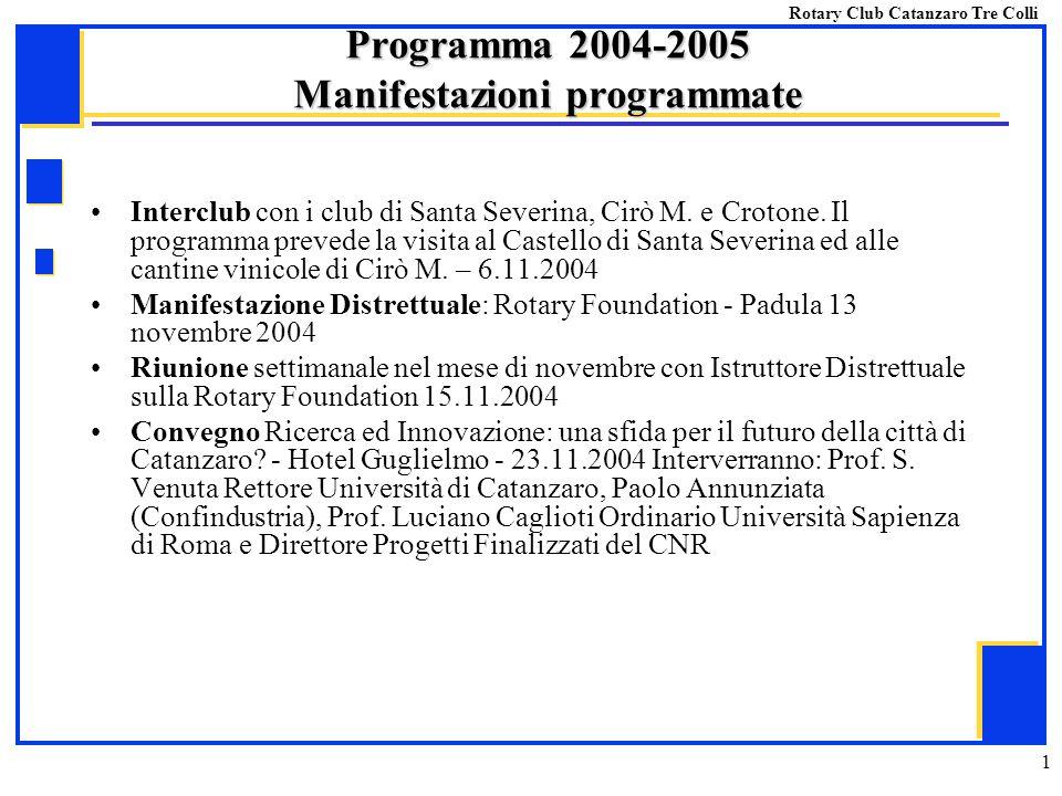 1 Interclub con i club di Santa Severina, Cirò M. e Crotone. Il programma prevede la visita al Castello di Santa Severina ed alle cantine vinicole di