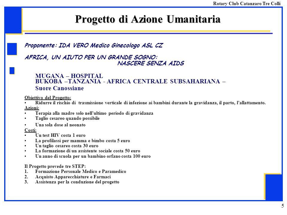 5 Proponente: IDA VERO Medico Ginecologo ASL CZ AFRICA, UN AIUTO PER UN GRANDE SOGNO: NASCERE SENZA AIDS MUGANA – HOSPITAL BUKOBA –TANZANIA - AFRICA C