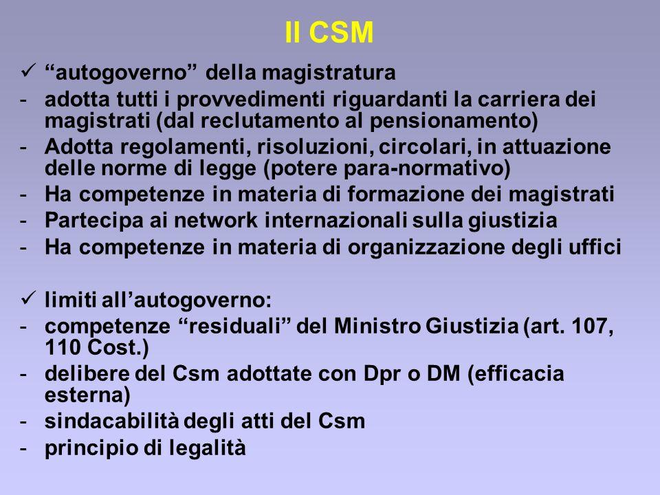 Il CSM autogoverno della magistratura -adotta tutti i provvedimenti riguardanti la carriera dei magistrati (dal reclutamento al pensionamento) -Adotta