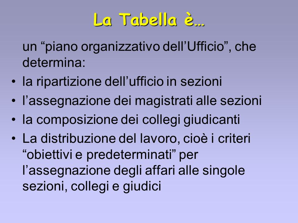 La Tabella è… un piano organizzativo dellUfficio, che determina: la ripartizione dellufficio in sezioni lassegnazione dei magistrati alle sezioni la c