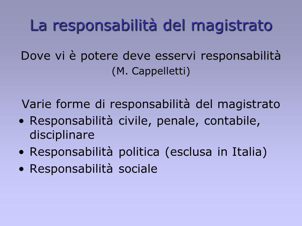 La responsabilità del magistrato Dove vi è potere deve esservi responsabilità (M. Cappelletti) Varie forme di responsabilità del magistrato Responsabi